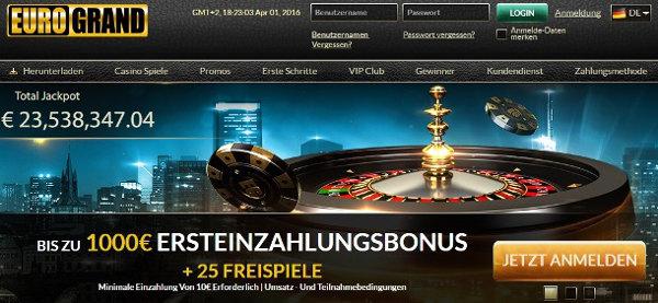 Casino Freispiele gibt es zeitweise bei EuroGrand