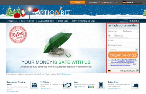 Ein Handelskonto bei Optionbit wird vorausgesetzt