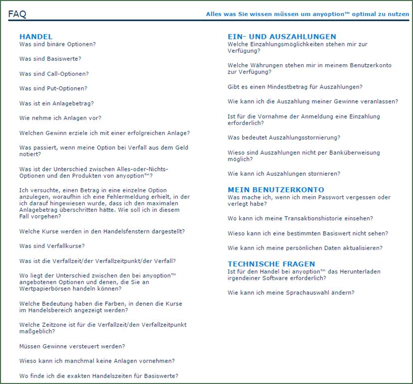 Die FAQs bei anyoption