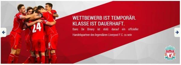 Banc de Binary unterstützt den Fußball.