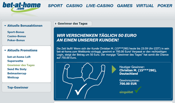 "Bet-at-home ""Gewinner des Tages"" Bonus"