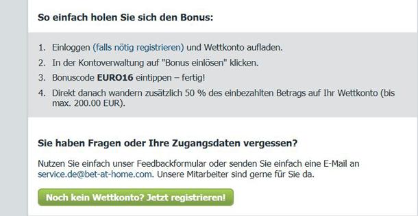 Bet-at-home Einzahlungsbonus von bis zu 200 Euro verfügbar