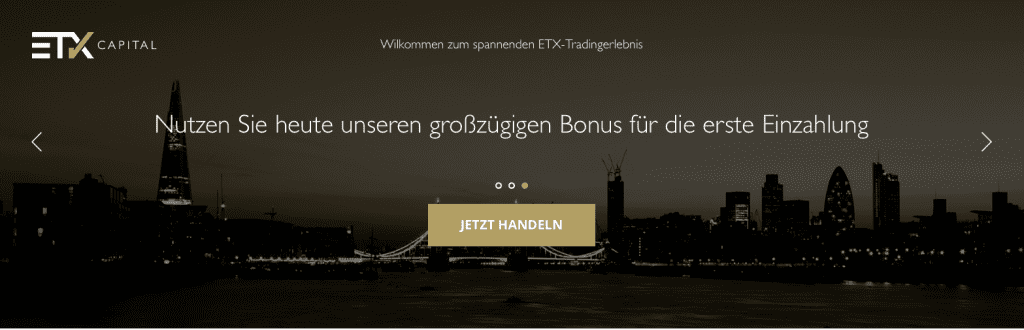 So sieht die Webpräsenz des Brokers ETX Capital aus