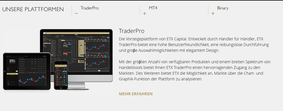 Die Handelsplattformen von ETX Capital