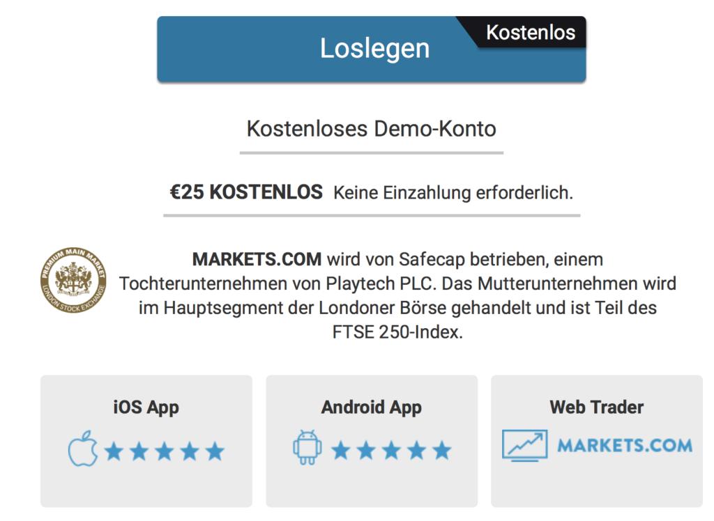 Den Handel risikofrei testen: das kostenlose Markets.com Demokonto