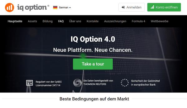 Die Startseite von IQ Option