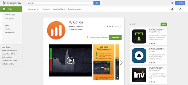 Die Binäre Optionen Demo App von IQ Option