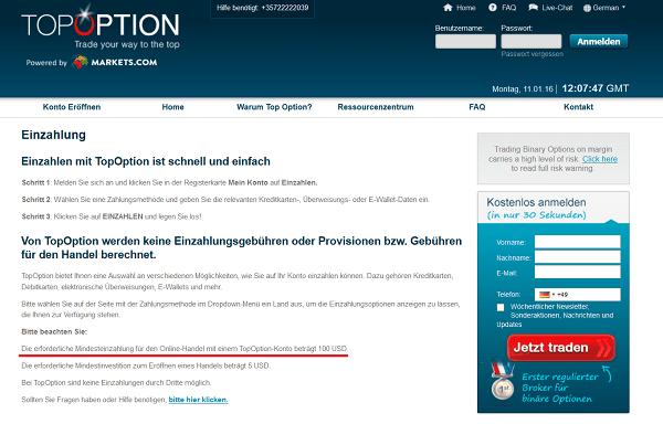 Informationen zur Einzahlung bei TopOption