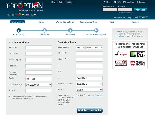 Das Registrierungsformular von TopOption