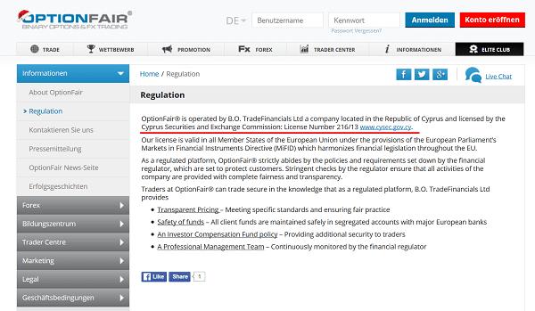 Informationen zur Regulierung von OptionFair