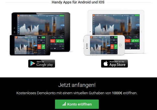 Apps und Informationen zum Demokonto von IQ Option