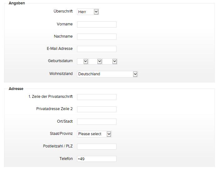Online-Formular von Binary.com