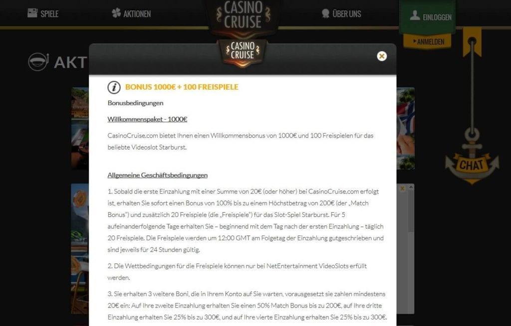 Screenshot Bonusregeln Willkommenspaket Casino Cruise