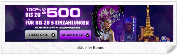 Crazy Vegas Casino Bonus: 500 Euro mit bis zu 5 Einzahlungen