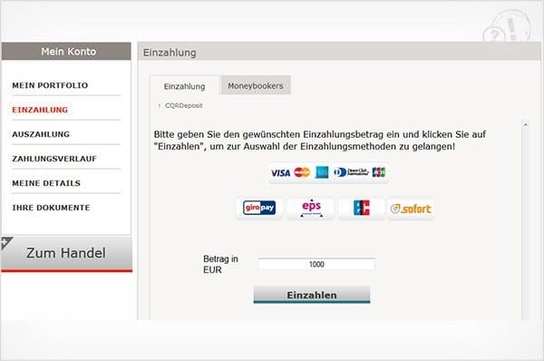 Das BDSwiss Einzahlungsformular