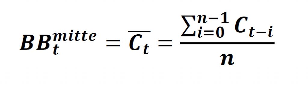 Die allgemeine Formel für das mittlere Bollinger Band