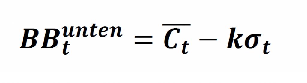 Die allgemeine Formel für das untere Bollinger Band