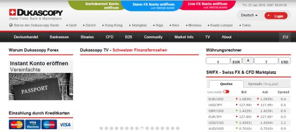 Webseite Dukascopy App