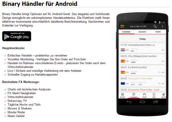 Mobiler Handel Dukascopy App