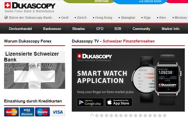 Dukascopy Auszahlungen Webseite