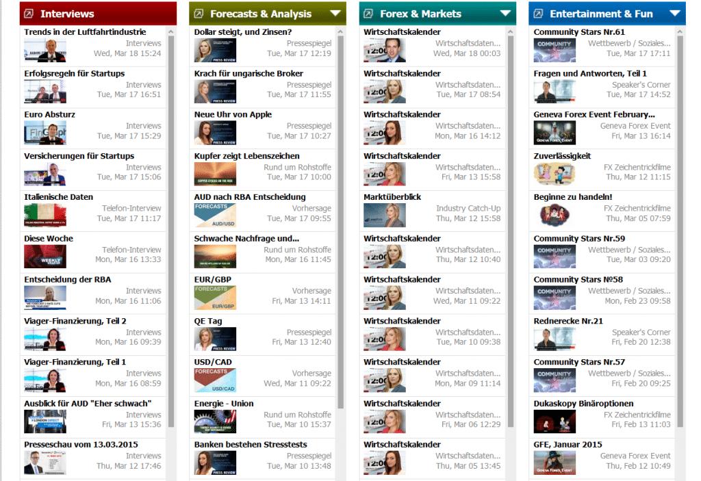 Dukascopy TV teilt sich in vier verschiedene Rubriken auf
