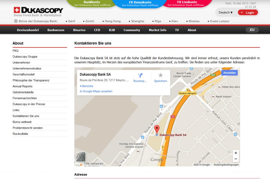 Der Kundensupport von Dukascopy ist sogar persönlich in den Genfer Geschäftsräumen erreichbar