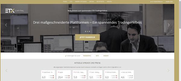 Webseite von ETX Capital Auszahlungen
