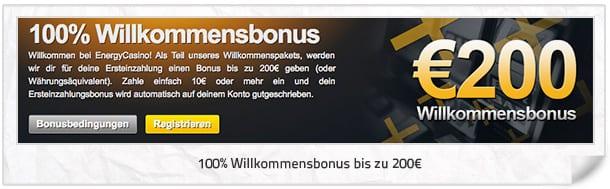 Energy Casino Bonus: 100% bis 200 Euro Willkommensbonus für neue Kunden
