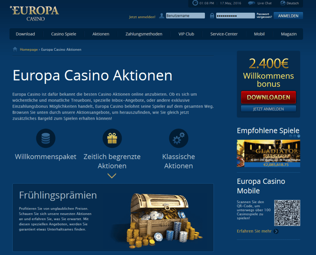 Screenshot Europa Casino Sonderaktionen