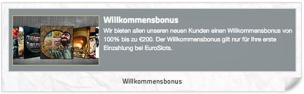 Euroslots Bonus: 100% bis 200 Euro zum Einstieg