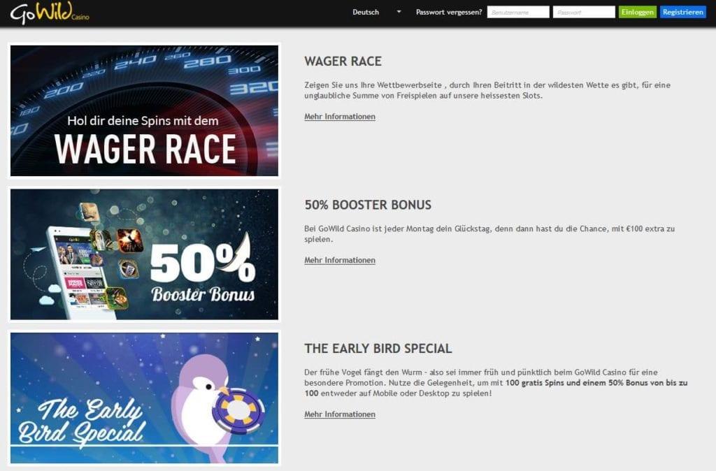 Screenshot Go Wild Casino besondere Aktionen