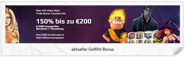 GoWild Neukundenbonus: 150% bis zu 200€ oder 200 Freispiele