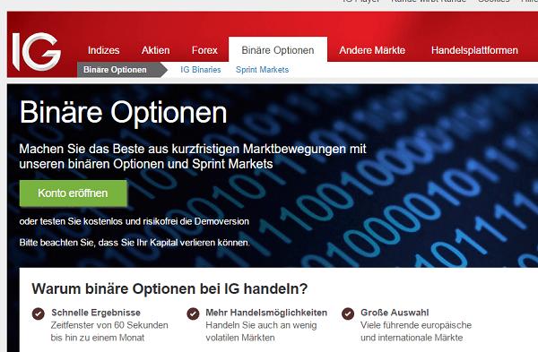 Webseite IG Binäre Optionen Auszahlungen
