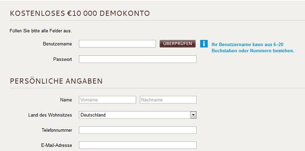 Antrag für IG Demokonto