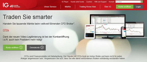 So sieht die Webpräsenz von IG (IG Markets) aus