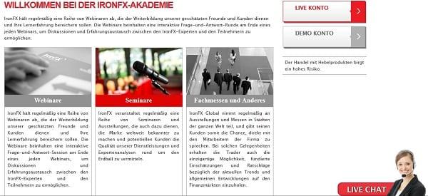IronFX Erfahrungen Akademie