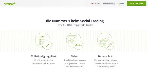 Sicherheit beim Social Trading per eToro
