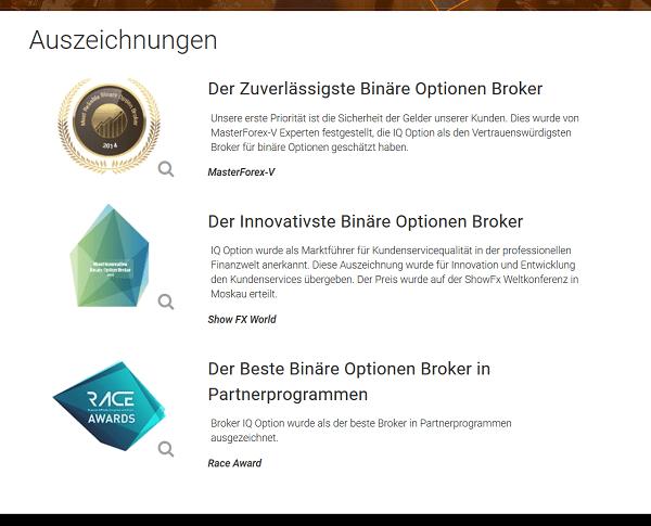 Die Auszeichnungen von IQ Option