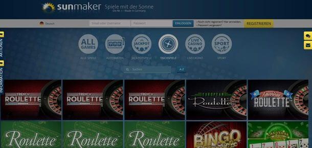 Sunmaker Online Roulette lukrativ