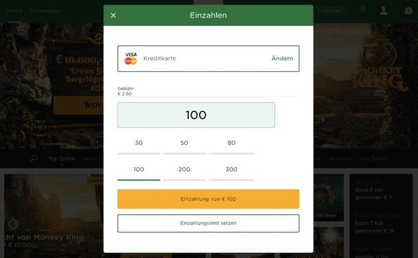 Kreditkartenzahlung Mr Green