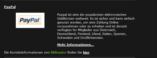 Konditionen für Paypal-Zahlungen bei 888Casino