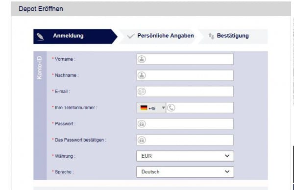 Kontoeröffnung durch Online-Formular