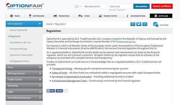 Infos zur Regulierung von OptionFair