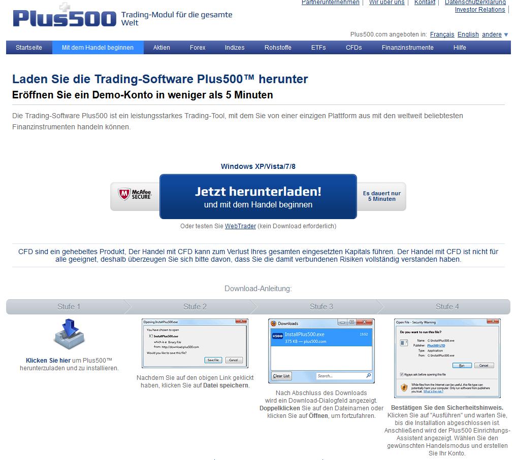 Bei Plus500 handeln Kunden über eine hauseigene Plattform
