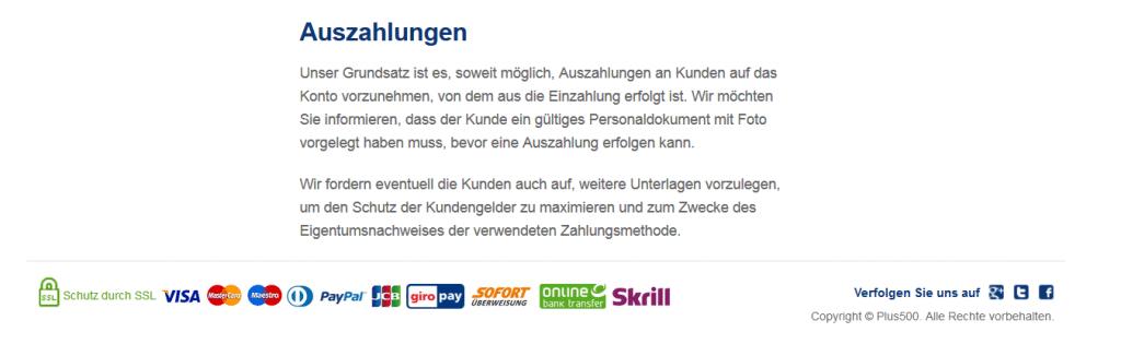 Auf der Website des Anbieters sind sämtliche Informationen zur Plus500 Auszahlung verzeichnet