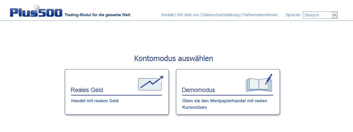 Hier können Kunden zwischen Live- und Demokonto wählen