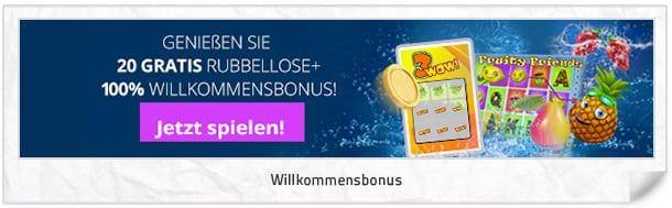 Scratch2Cash Bonus: 20 Rubbellose + 100% Willkommensbonus
