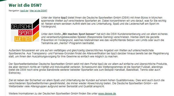 Tipp3 als Unternehmen der Deutschen Sportwetten GmbH (DSW)