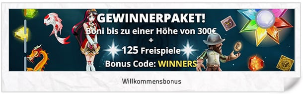 Vegas Winner Bonus: 300 Euro + 125 Freispiele