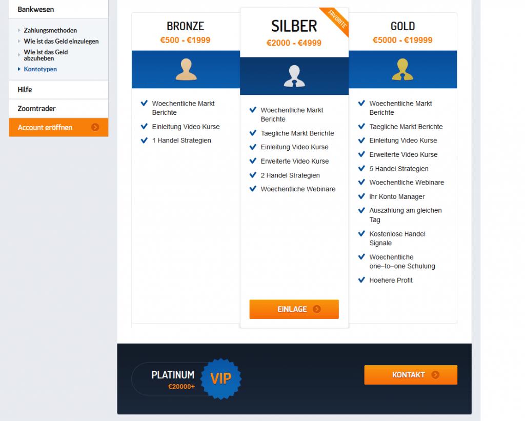 Bei ZoomTrader sind verschiedene Kontomodelle verfügbar